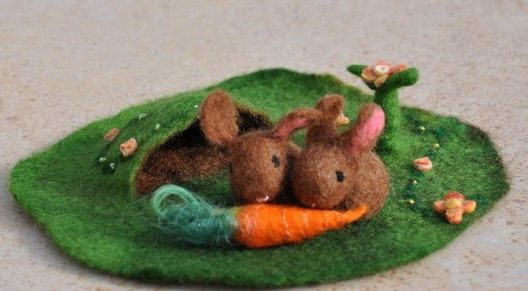 Waldorf Easter Play Mat Nature Small 3D Landscape Easter Spring Season Playscape  Vegetable Flowers Felted Bunny Rabbit Sheep Carrot Cabbage