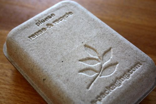 """please reuse and recycle"" debossed / embossed on the back of each clamshell to remind your customers to be green. www.s-packaging.com"