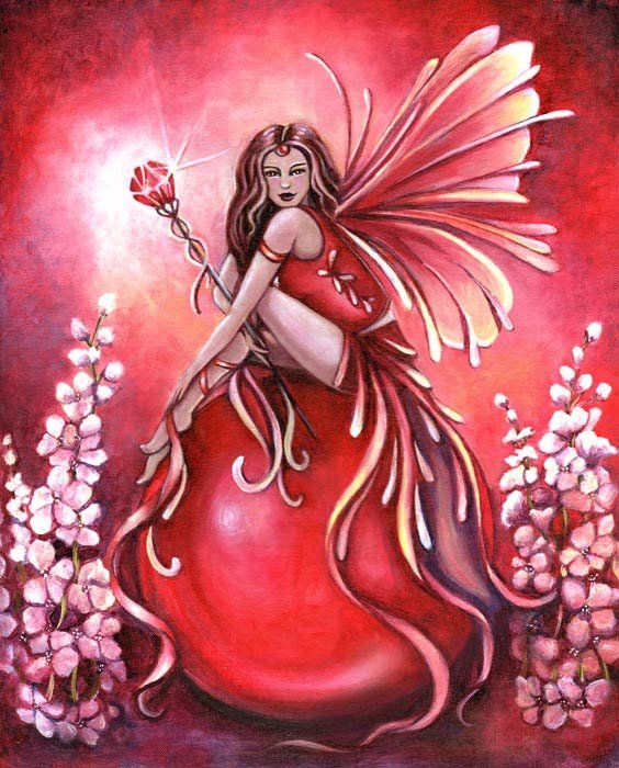 """Part of my Birthstone Fairy series...July Birthstone Fairy (Ruby) with Larkspur (July's flower.)"""""