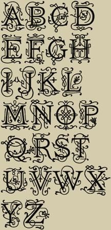 Ornamental Monogram Machine Embroidery Font 4 Sizes