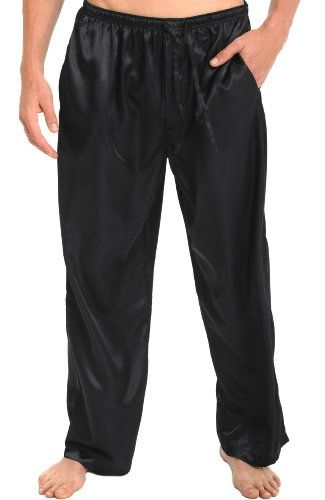 Mens Black Satin Pajama Pants