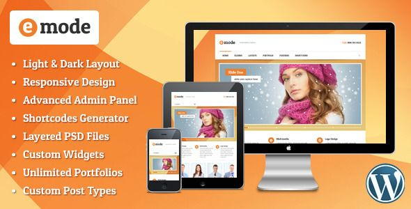 emode - Responsive Multipurpose WordPress theme   http://themeforest.net/item/emode-responsive-multipurpose-wordpress-theme/4355567?ref=damiamio       emode is a premium Wordpress responsive theme with unlimited skins. This theme is perfect for all businesses, corporations and creative portfolio sites. It has powerful CMS functionality and a long list of premium features.  	             Theme Features     Fully Responsive Design    Unlimited Skins  Light and Dark layout variations    jQuery…