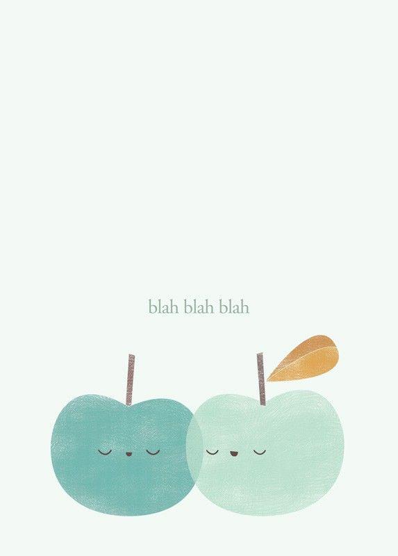 Affiche Pomme , Déco Chambre d'enfant, Illustration par Apanona