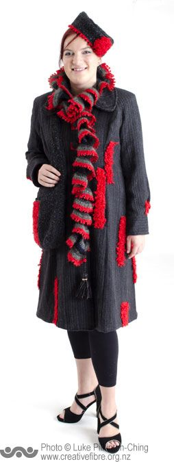 MERIT: THE POVERTY BAY FASHION AWARD --- Cuba (Anne Percival, Hamilton) --- Handwoven coat using assorted yarns. Crochet scarf, felted/woven tote bag and pillbox hat.