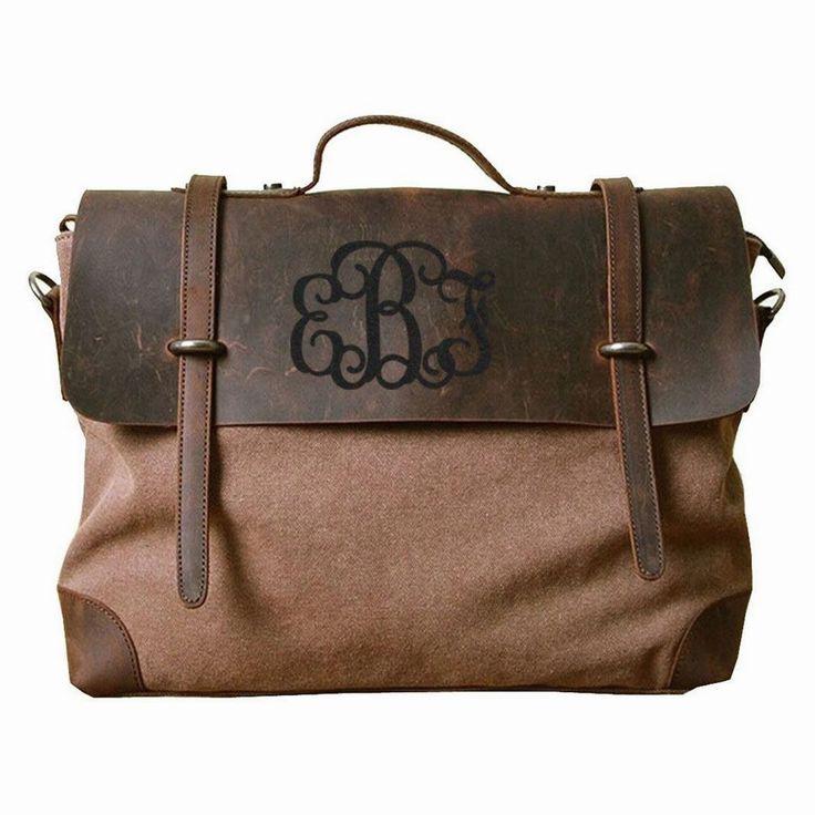 Individualized Etched Monogram Laptop Bag Messenger Canvas Crazy Horse Leather School   Shoulder Bags Gift ideas
