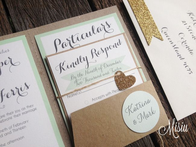Mint And Glitter Gold Pocket Folder Wedding Invitation Set Misiu Too Glitzy