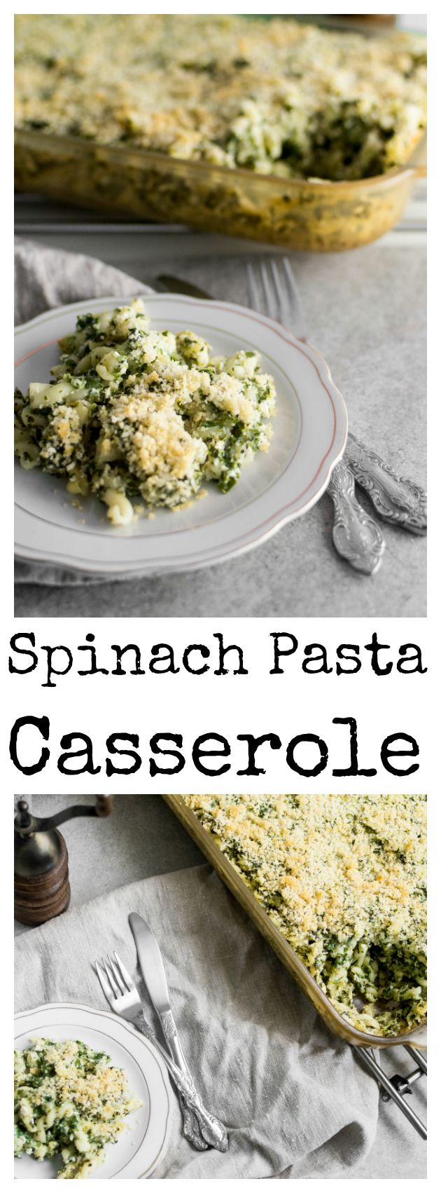 Crunchy vegan spinach pasta casserole.   Oven baked. Plant-based