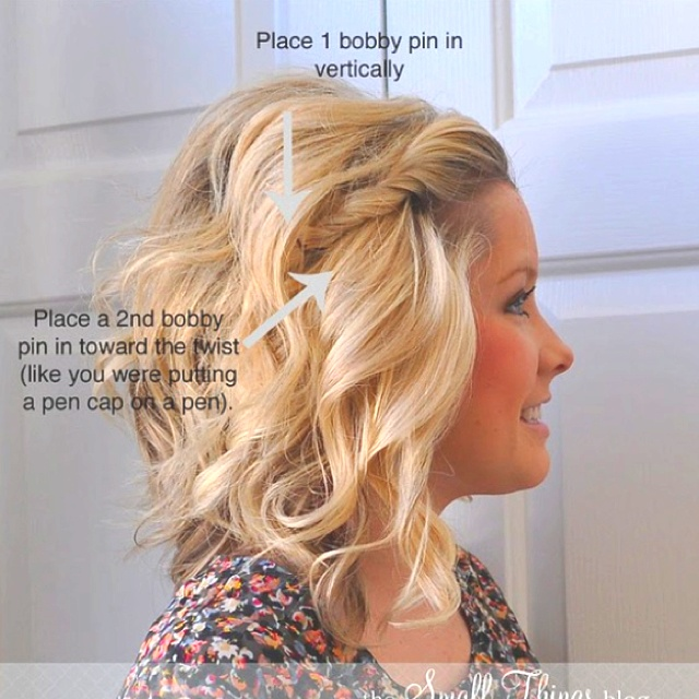 how to put bobby pins in a twist so they wont fall out or bend. NEAT!