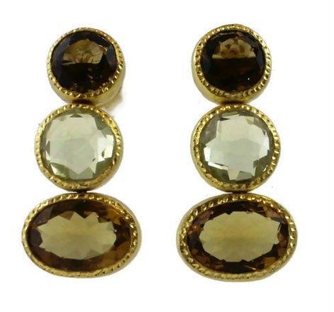 Karla Smoky Quartz / Citrine Earrings