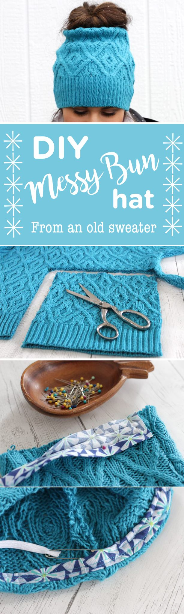 How to look great and avoid hat hair this winter. Make your own messy bun/ponytail hat from an old sweater.