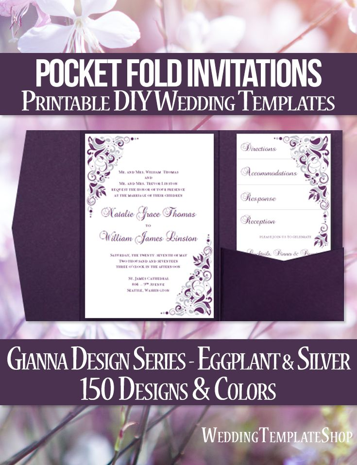 115 best Pocketfold Wedding Invitations, DIY Printable Templates ...