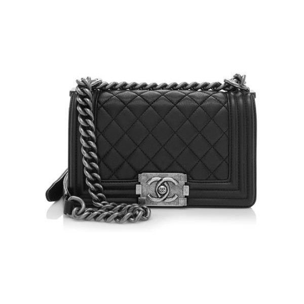 Pre-Owned Chanel Calfskin Small Boy Bag (4,290 CAD) ❤ liked on Polyvore featuring bags, handbags, black, chanel bags, calf leather handbags, preowned bags, pre owned handbags and chanel handbags