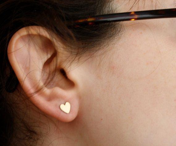 Tiny Brass Heart Studs