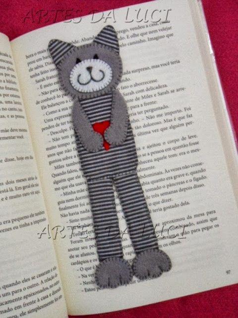 stitched cat bookmark
