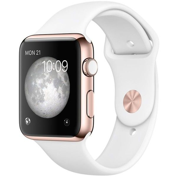 Apple Watch Edition 42mm 18-Karat Rose Gold Case with White Sport Band (€10.920) ❤ liked on Polyvore featuring jewelry, watches, electronics, accessories, technology, sport jewelry, white wrist watch, sport wrist watch, pink gold jewelry and sports watches