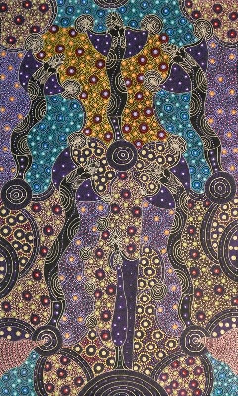 Dreamtime Sisters by Colleen Wallace Nungari depicts the ancestral spirit figures Irrernte-arenye (Dreamtime sisters) of the Eastern Arrernte Aboriginal people in Central Australia