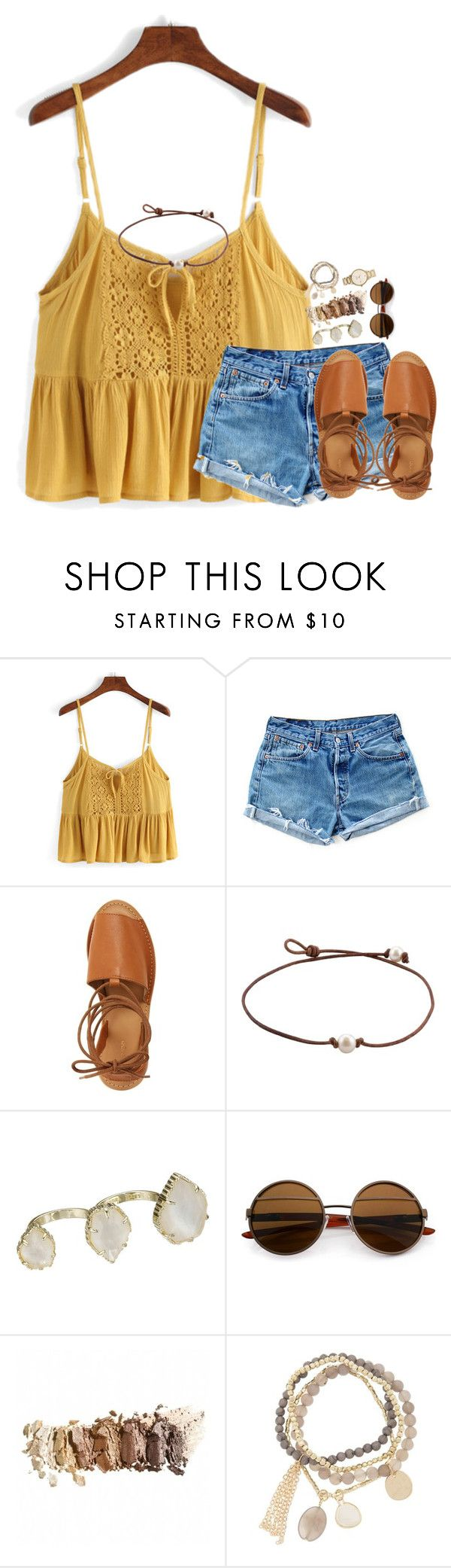 """stop staring @me"" by kate-elizabethh ❤ liked on Polyvore featuring Levi's, Topshop, Kendra Scott, DesignSix and Kate Spade"