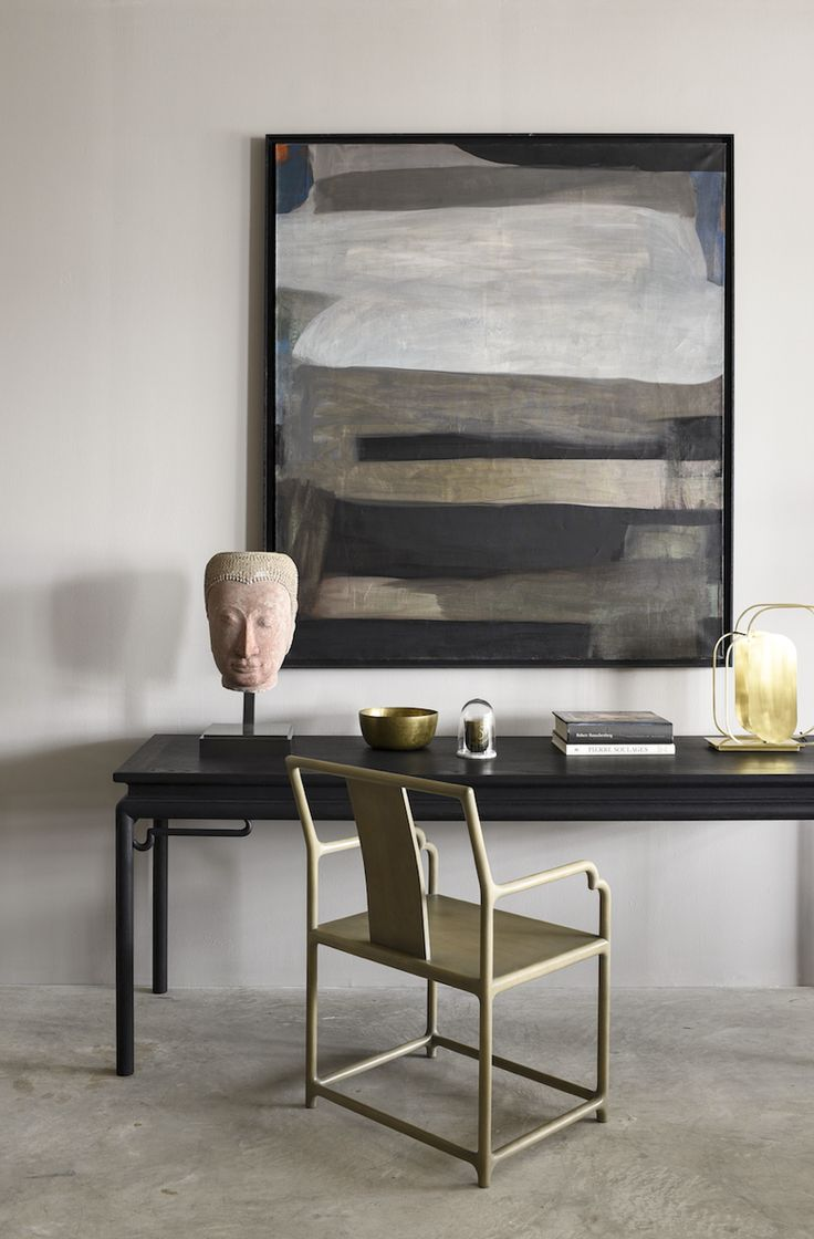 AKAR DE NISSIM's Lifestyle - Home decor with Buffet Table CATHAY, Dining Chair MANDCHU, Desk Lamp SEQUIN in Brass finish and our final touch with Buddha Antique, Singing Bowl, Michel Cure Painting and our Candle with its glass dome
