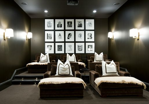 Home theater by Melanie Turner - I love how everyone gets their own blanket and pillow!