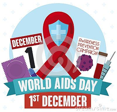 Poster in flat style with a elements to promote prevention against HIV virus in World AIDS Day celebration: condom, retroviral pills, blood test, prevention campaigns and calendar with reminder date.