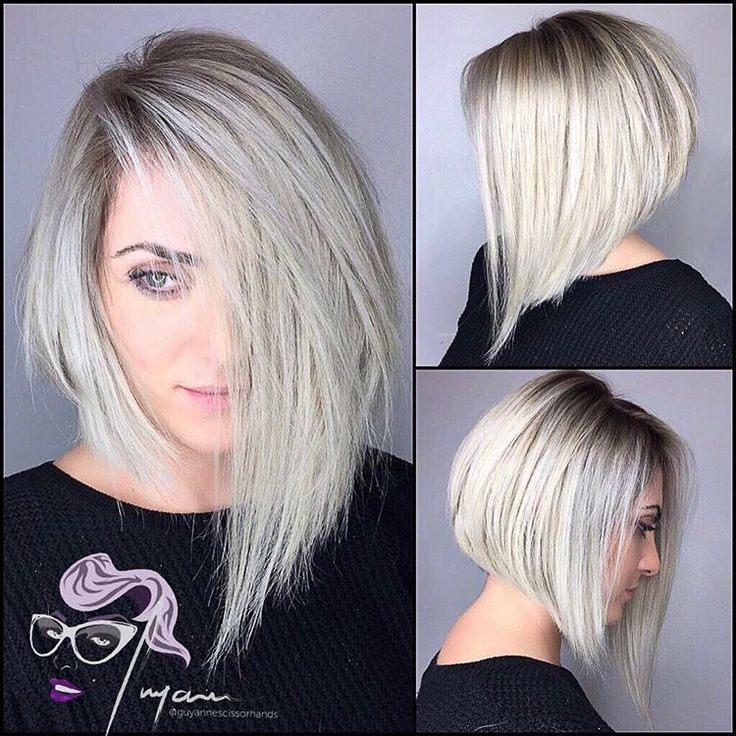 Asymmetrical A line bob haircut by @guyannescissorhands • 98 likes