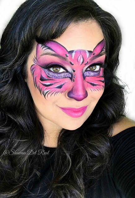 Shawna D. Make-up: Pink kitty face painting mask