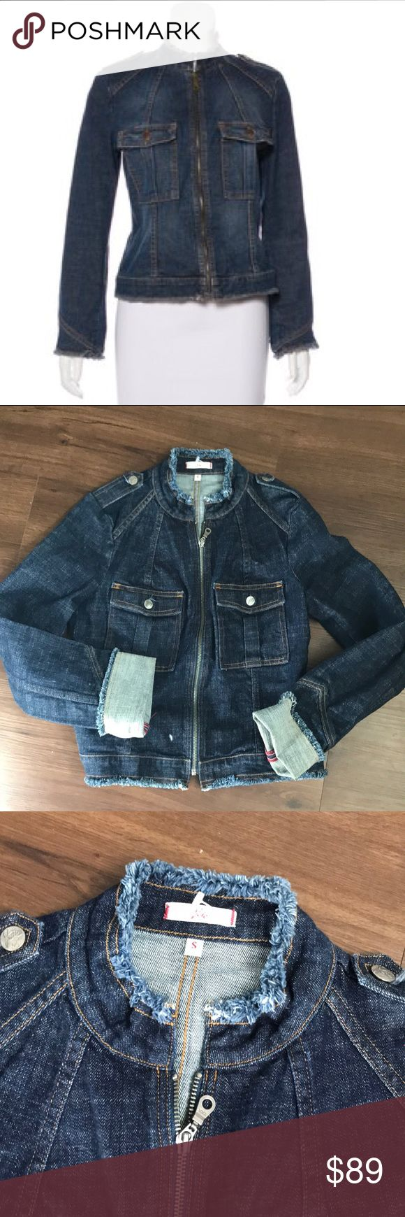 """Joie Dark Denim Zip Up Jean Jacket Small Medium wash blue Joie denim jacket with dual flap pockets and zip closure at front. Side small. Bust: 36"""" Waist: 34"""" Shoulder: 16"""" Length: 22"""" Sleeve: 23.5"""" Condition: Excellent. No visible signs of wear. Fabric: 98% Cotton, 2% Lycra Joie Jackets & Coats Jean Jackets"""