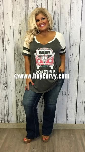 281ad233d5286  29.99--2 3X--- 70-X Charcoal White ROADTRIP Top with Pink Hippie Bus