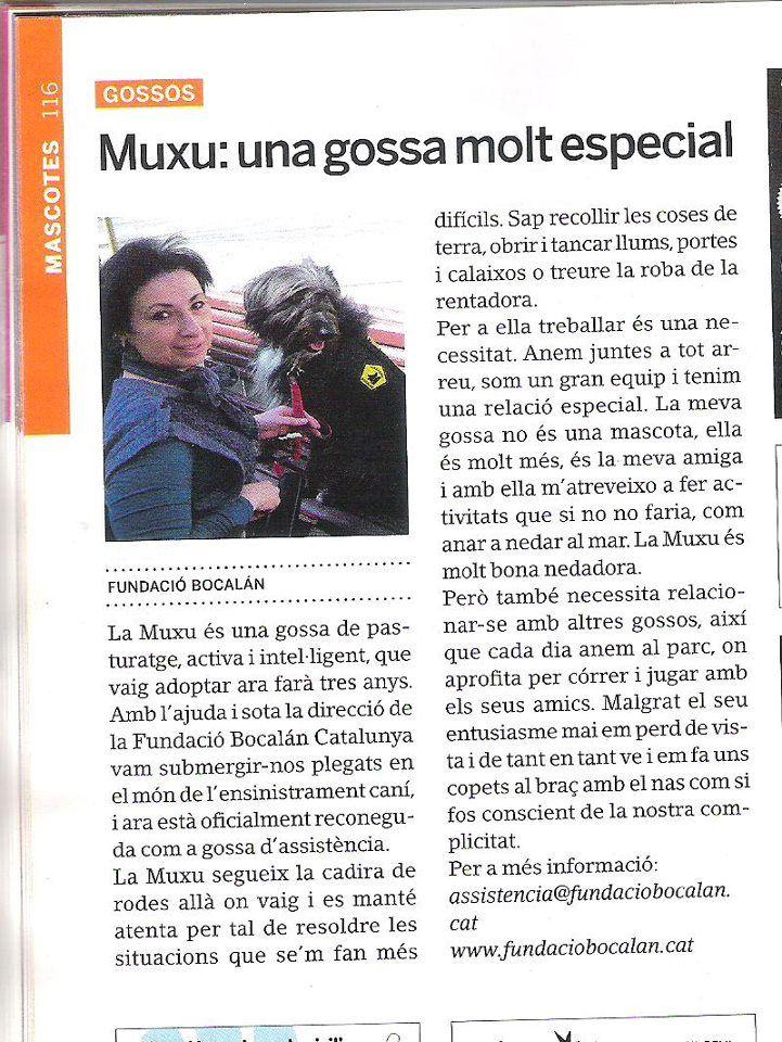 """Articulo en la revista """"Tot Sant Cugat"""" sobre la experiencia con Muxu."""