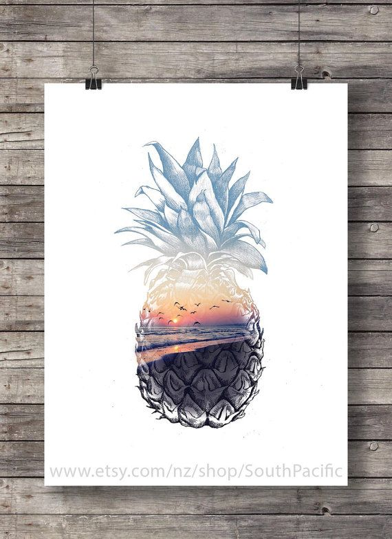 Pineapple Sunset - Aloha tropical island sunset Printable wall art - Hawaii…