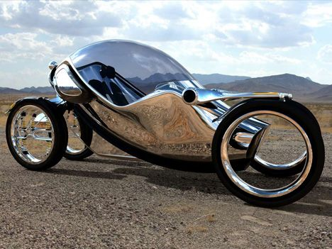 Created by designer  David Miguel Moreira Gonçalves, the Scarab is a four-wheeled, single-passenger road bullet that leans and twists like a motorcycle, but provides the safety of an enclosed cabin. In addition, the Scarab is powered by a permanent battery plus three options for the main energy pack – battery, fuel cell or  biofuel.