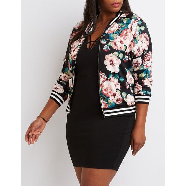 Charlotte Russe Floral Bomber Jacket ($37) ❤ liked on Polyvore featuring plus size women's fashion, plus size clothing, plus size outerwear, plus size jackets, mauve combo, zip jacket, bomber jacket, zip bomber jacket, flight jacket and light weight jacket
