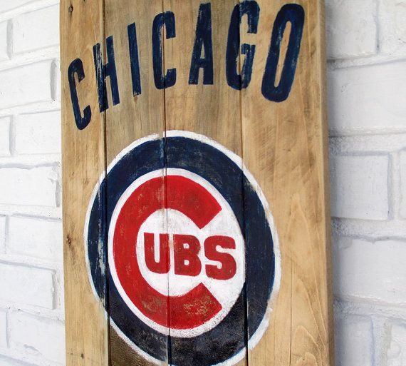Chicago Cubs Baseball Sign by VintageSignDesigns on Etsy