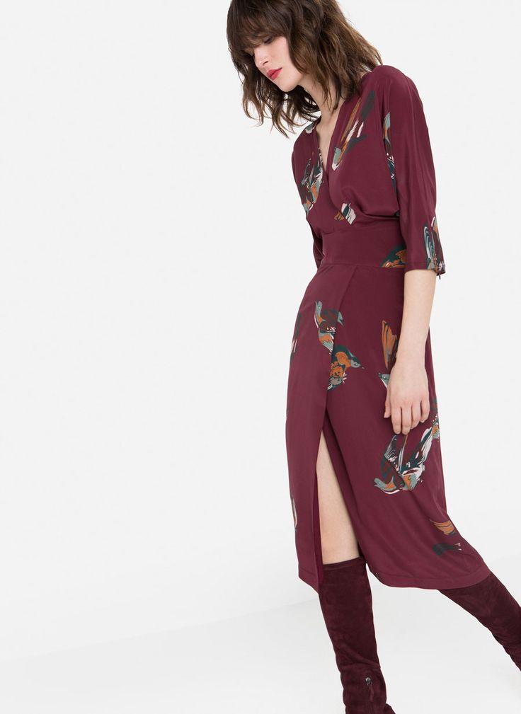Bird print silk dress - Dresses and Skirts - Ready to wear - Uterqüe Denmark