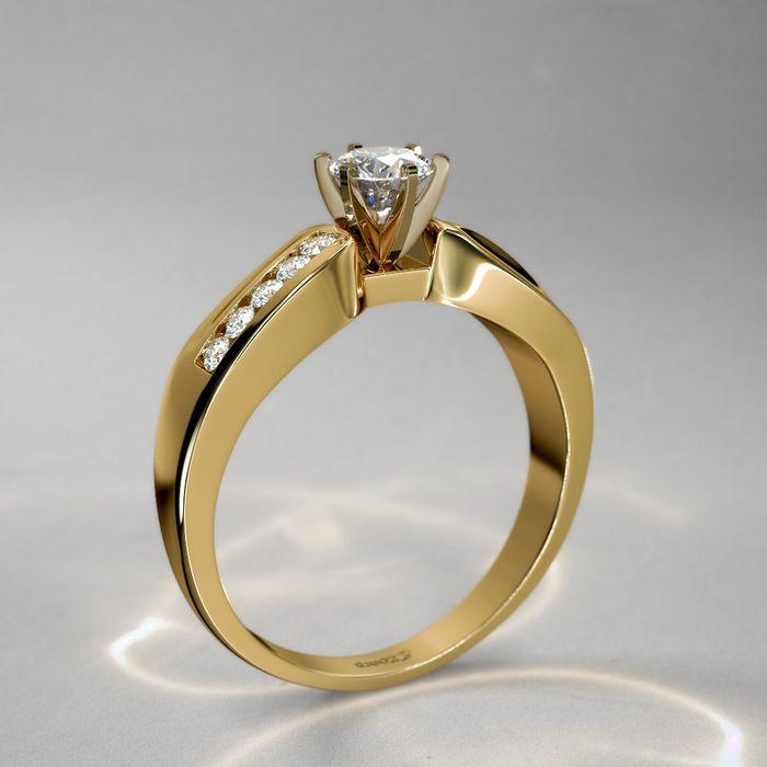80d70052ebc6 Anillo de Diamantes 1 2 qt con Contorno Ondulado en Oro Amarillo 14k ...