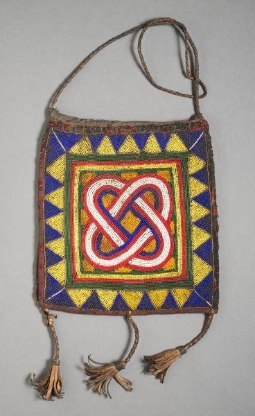 Africa | Bag from the Yoruba people of Nigeria | Beadwork on leather | 1900s