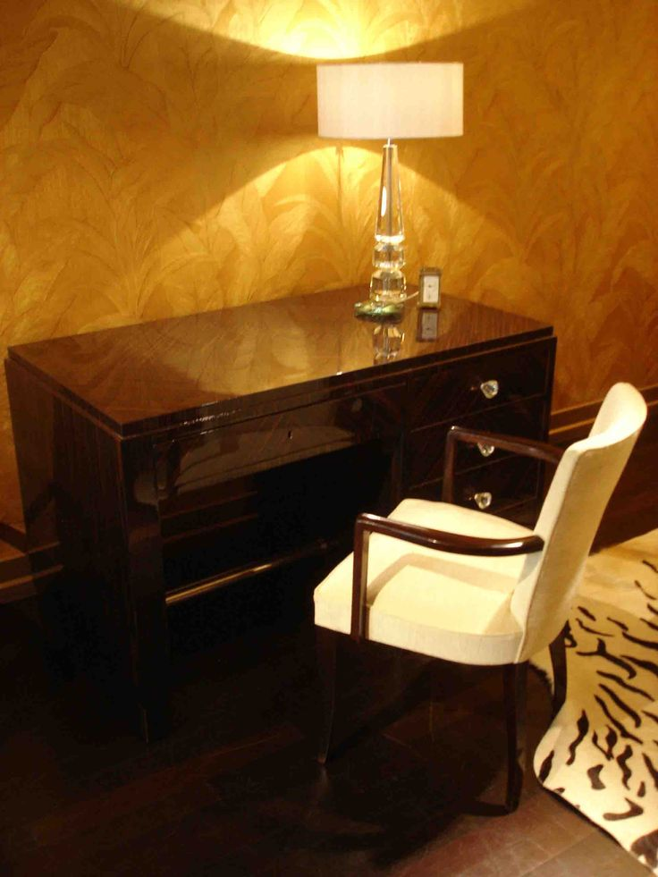 Art Deco in your study - a small Art Deco desk with a bridge chair.