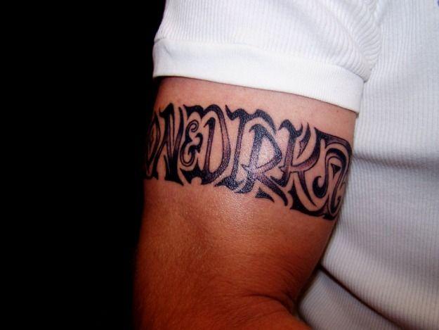 Bicep Tattoo for Men - Name Tattoo Design Ideas, armband tattoo