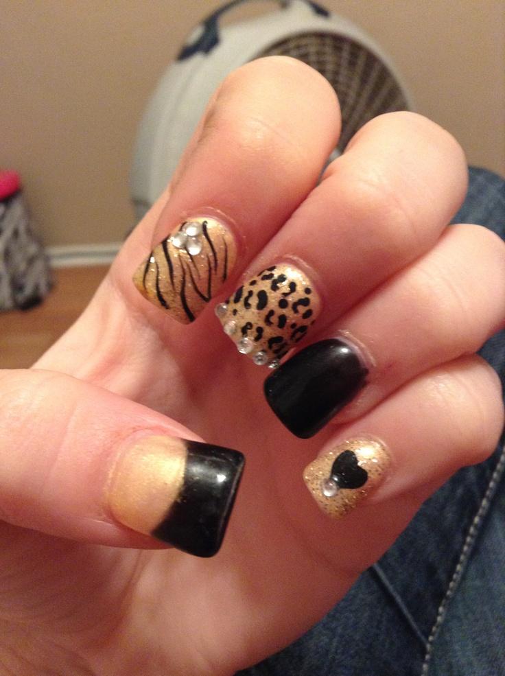 cheetah, zebra, rhinestoned nails