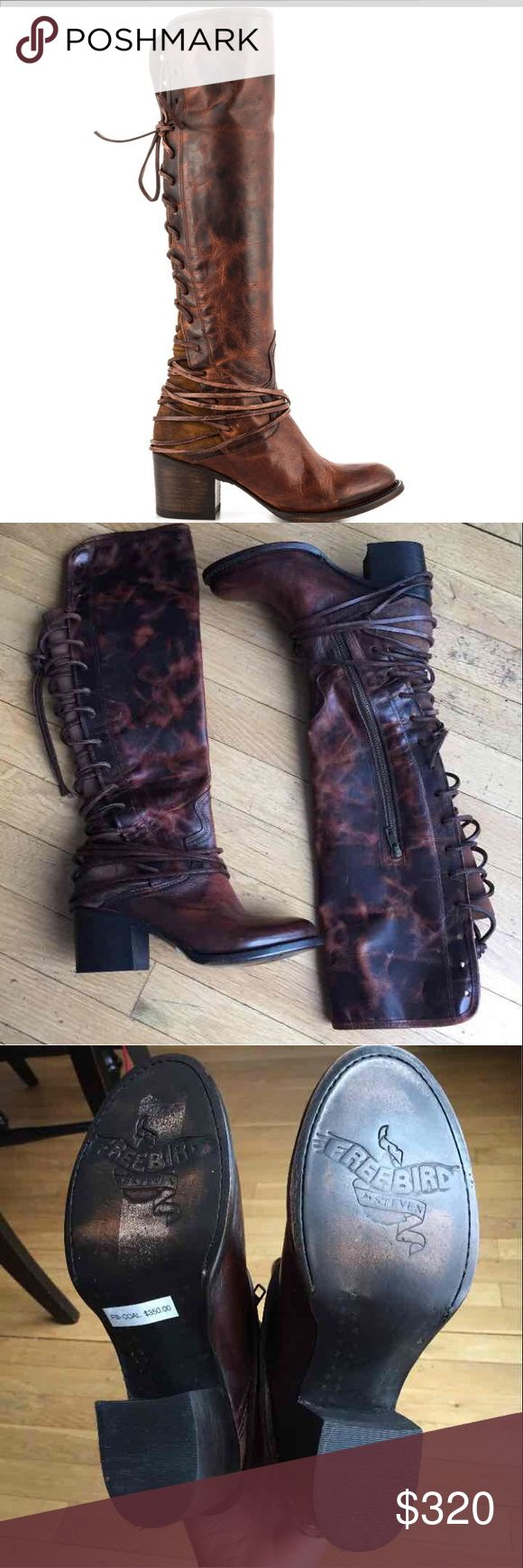 Steve Madden Freebird Coal Cognac Boots Steve Madden Freebird Coal Cognac Boot  Quality: Brand New Size: 6 runs small  No Box Regular price- $350 !!!!NO LOW-BALL OFFERS Steve Madden Shoes Lace Up Boots