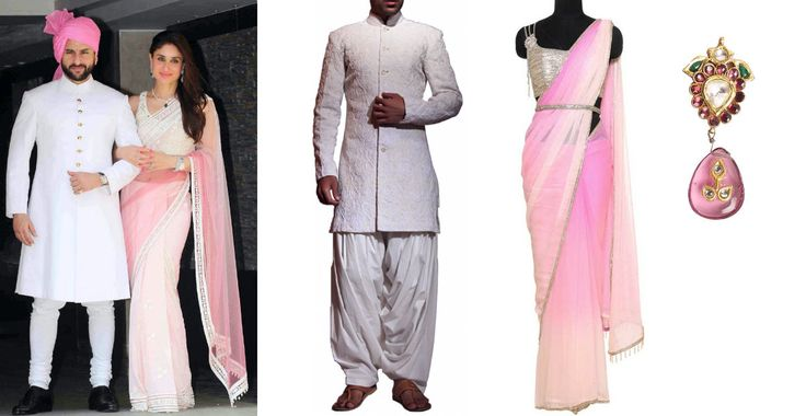 Saif Ali Khan and Kareena Kapoor looked stunning at Kunal Khemu and Soha Ali Khan's recent wedding reception! Opt for a similar His & Hers look with a stylish cream embroidered sherwani by Siddartha Tytler  and an elegant pink shaded saree by Raakesh Agarvwal complemented by a sparkling silver blouse on strandofsilk.com. Pair this beautiful dress with pretty pink tourmaline earrings by Ambar Pariddi Sahai. #saifalikhan #kareenakapoor #pinksaree #earrings #wedding #siddharthatytler #bride…