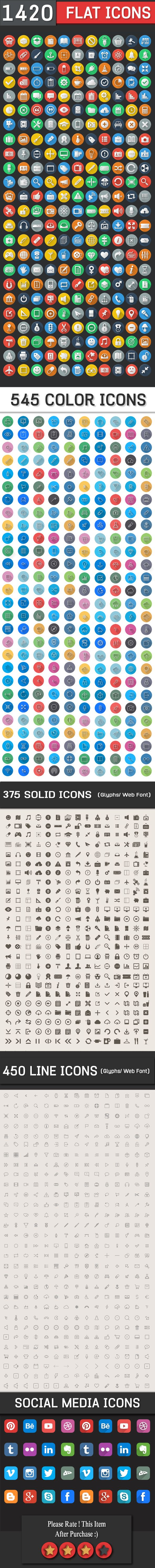1420 Flat Icons - Colorful Icons Set   DailyDesignMag on the Wacom Gallery  http://gum.co/ddm9