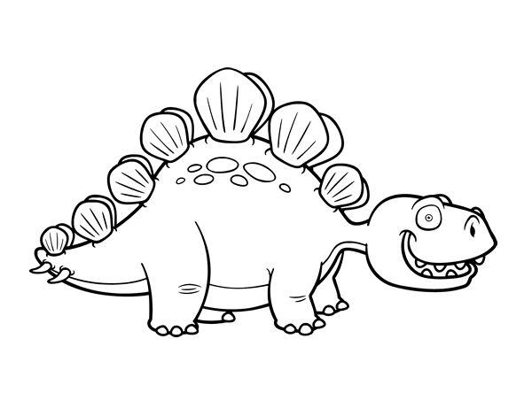 Dinosaurio Para Colorear Para Para 2 Saurios Para Online: Dibujo De Estegosaurio Para Colorear