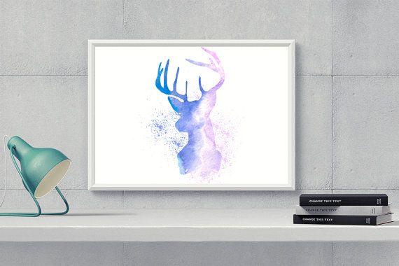 Printable Watercolor DeerWatercolor Deer Print by HappyartWorkshop