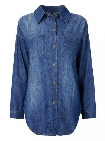 Casual Women Back Zipper Button Denim Blouse