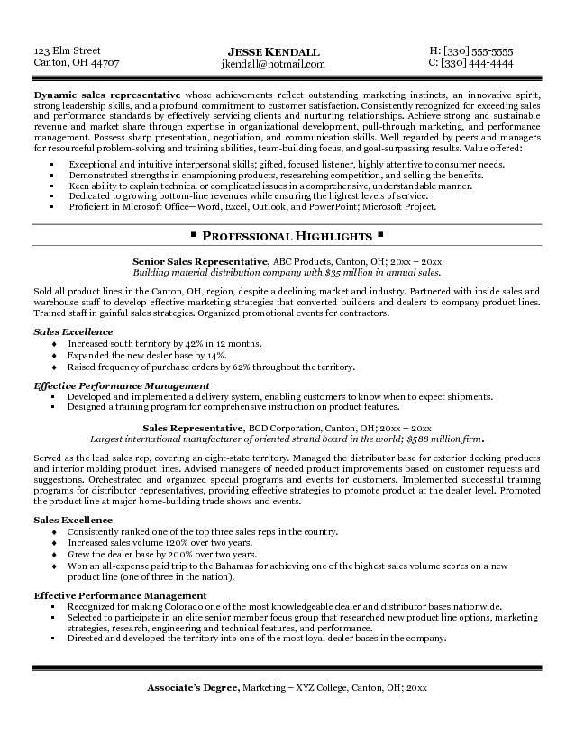 a d sales representative free sample resume