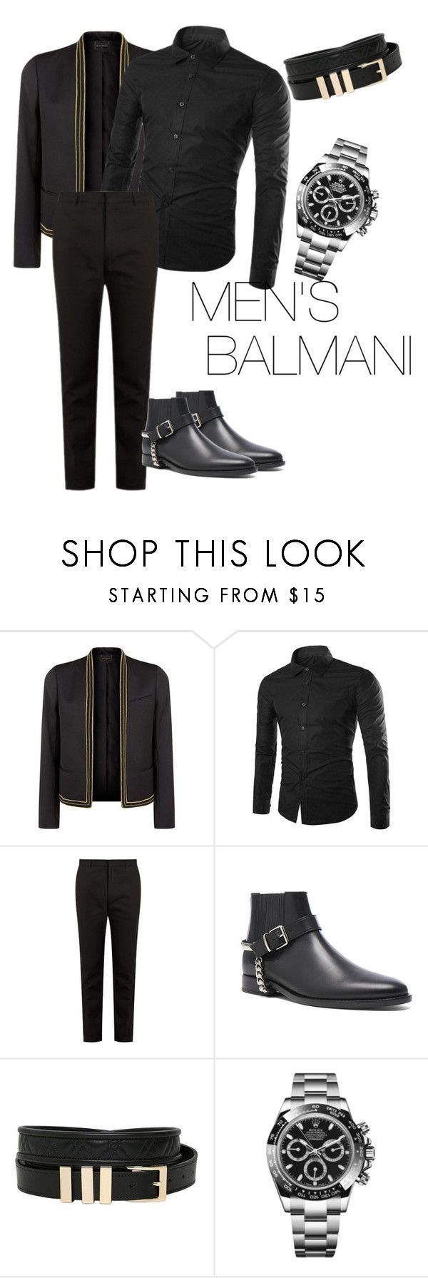 """outfit#100"" by alifia-fae on Polyvore featuring Balmain, Rolex, men's fashion and menswear"