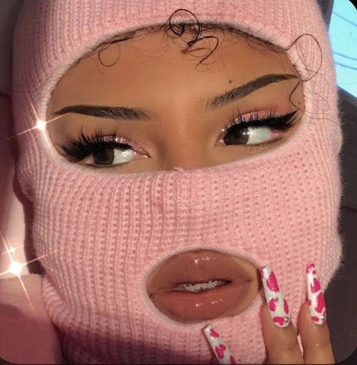 with pink baddie aesthetic balaclava on black