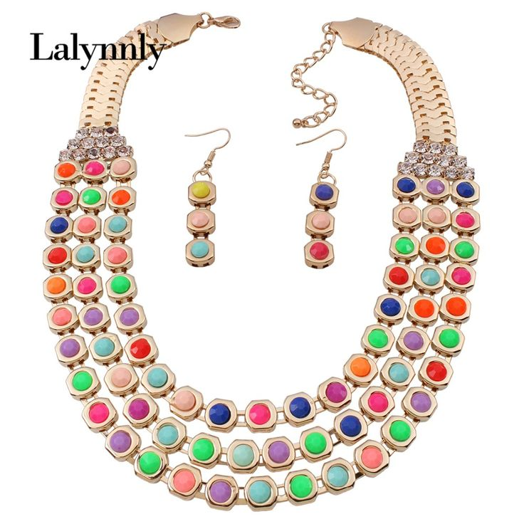 Gold Color Women Statement Necklace Fashion Jewelry Sets Resin Rhinestone Necklace Earrings Wedding Jewelry For Women  N37771
