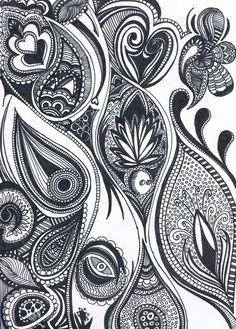 la répétition des lignes courbes donnent un effet de mouvement au dessin